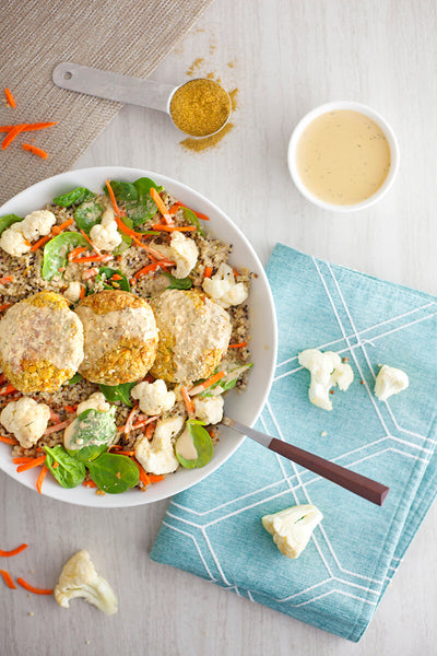 Mediterranean Oasis Bowl with Baked Falafel and Dill Tahini-wide view