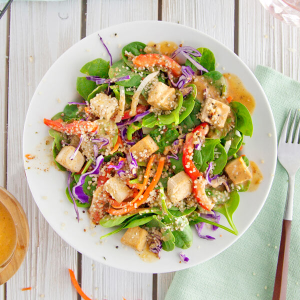 Paprika Spinach Salad with Baked Tofu & Hemp Hearts