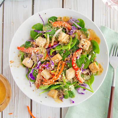 Paprika Spinach Salad with Baked Tofu & Hemp Hearts-square view