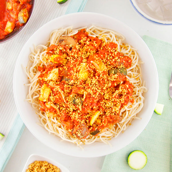 "Pasta Primavera with Gluten-Free Pasta and Cashew ""Parm"""
