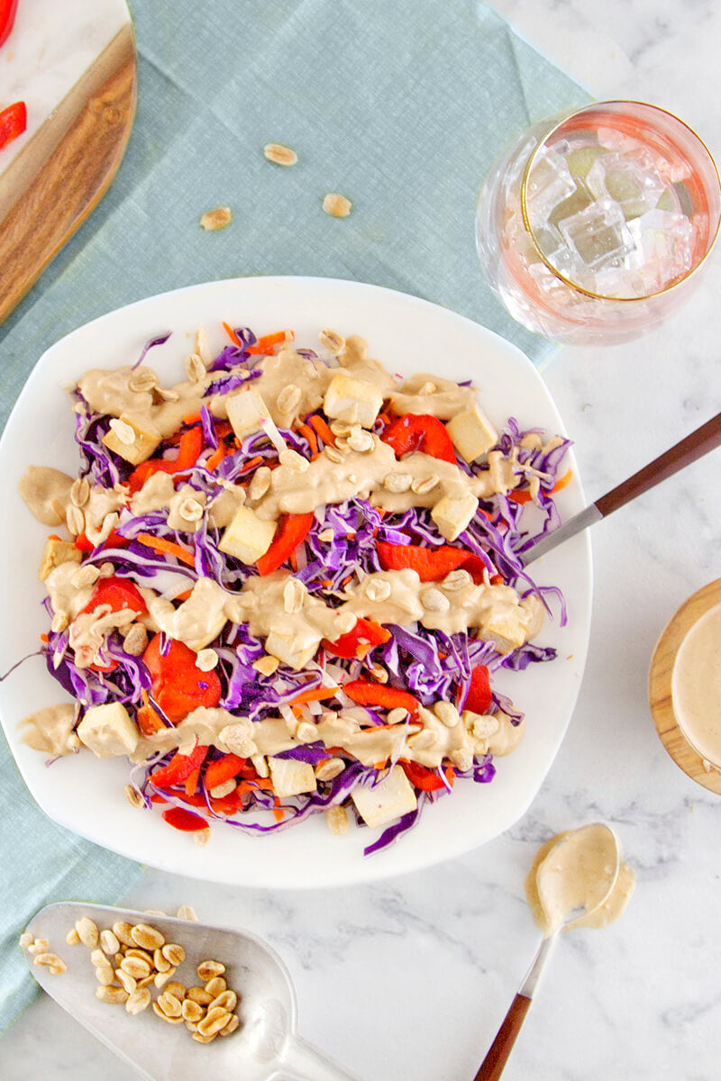 General Tsao's Tofu with Peanut Red Cabbage Slaw