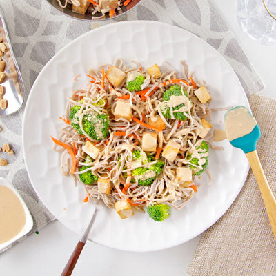 Peanut Soba Noodles with Tofu and Broccoli-square view