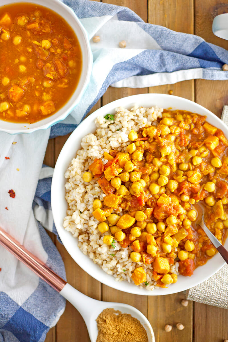 Indian Chana Masala with Sweet Potatoes Over Herbed Brown Rice