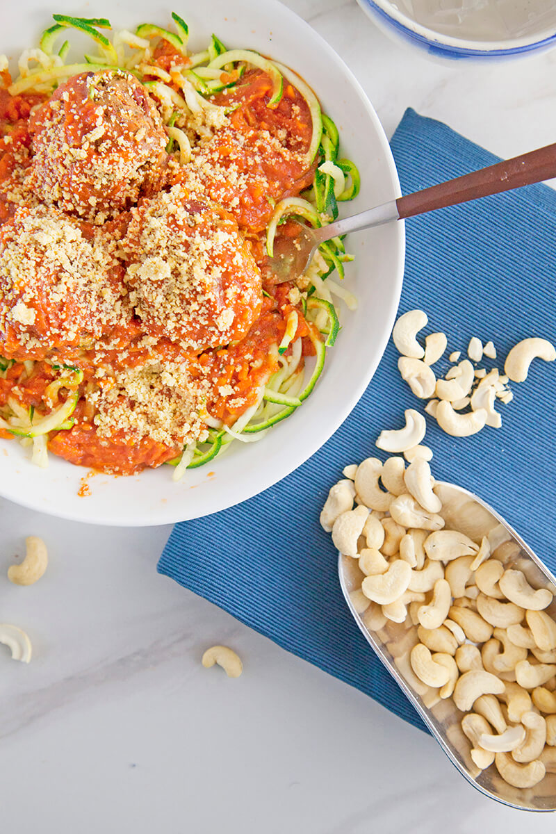 Zucchini Pasta Marinara with Superfood Veggie Balls