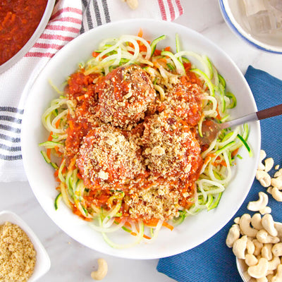 Zucchini and Carrot Pasta Marinara with Plantballs-square view