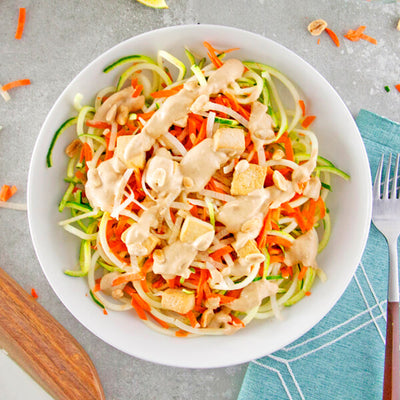 Zucchini Noodle Pad Thai with Baked Tofu-square view