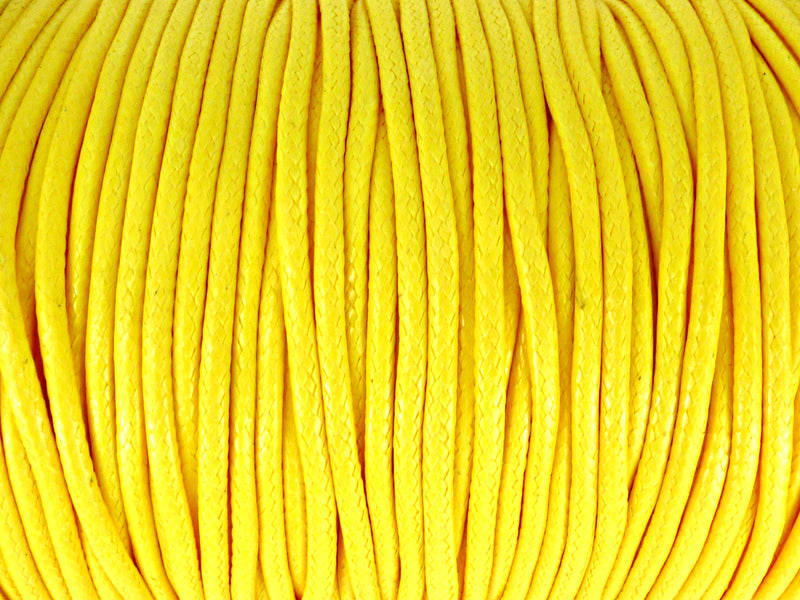 Baumwoll Kordel Korean Wax Cord 2mm in gelb - 1 Meter