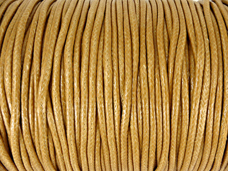 Baumwoll Kordel Korean Wax Cord 2mm in hellbraun - 5 Meter