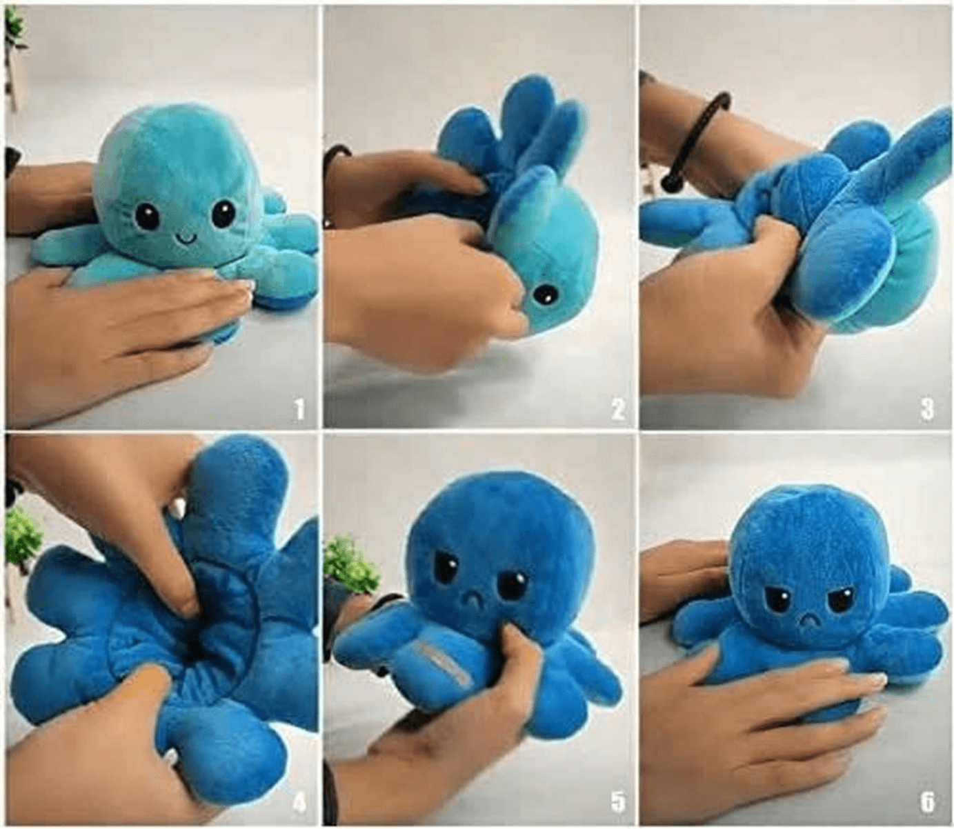 A tutorial to show how to flip the reversible octopus plush, in order to show his mood in Face content or not content. This plush is not to buy on Amazon, Ebay and has nothing to do with jellyfish.