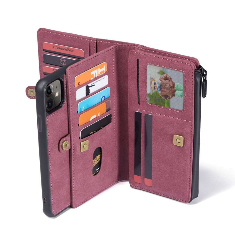 CASEME Apple iPhone 11 Luxe Multi Portemonnee Hoesje Rood