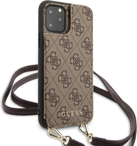 Guess Apple iPhone 11 Pro Max Bruin Backcover hoesje - 4G Crossbody