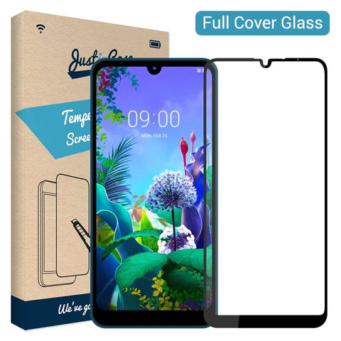 Just in Case Full Cover Tempered Glass LG Q60 - Zwart