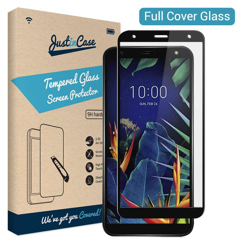 Just in Case Full Cover Tempered Glass LG K40 Zwart