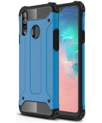 Samsung Galaxy A20s Hoesje Shock Proof Hybride Back Cover - Blauw