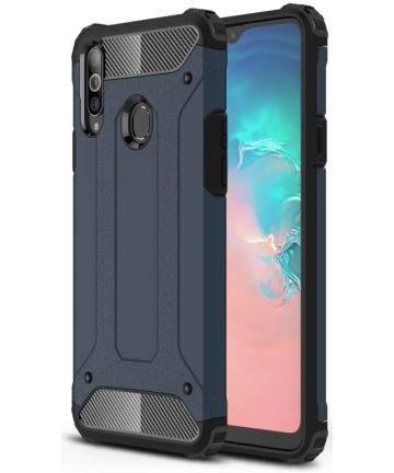 Samsung Galaxy A20s Hoesje Shock Proof Hybride Back Cover - Donker Blauw