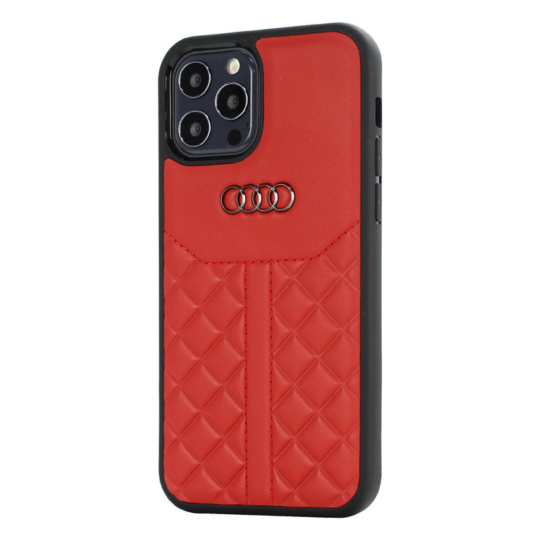 Audi Apple iPhone 12 / 12 Pro Backcover Rood Q8 Serie - Echt leer