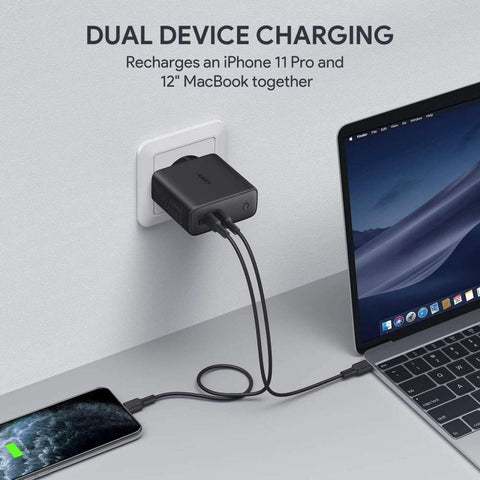 Aukey Dual Power Delivery 3.0 Thuislader 63W - Zwart
