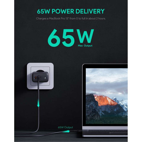 Aukey PA-B4 Dual Power Delivery 3.0 Thuislader 65W - Zwart