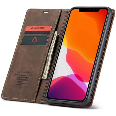 CASEME Apple iPhone 11 Pro Retro Wallet Hoesje - Coffee