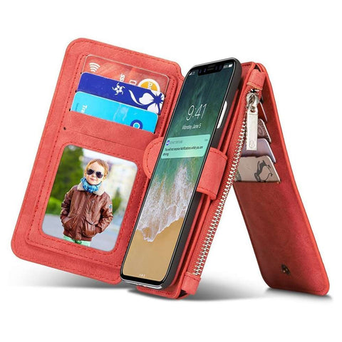 CASEME Apple iPhone Xs Max Retro Portemonnee Hoesje - Rood