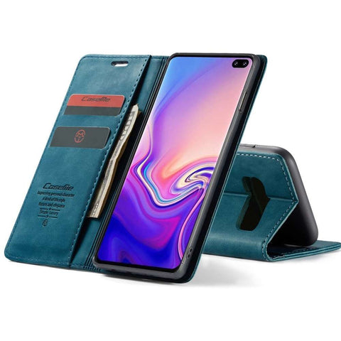 CASEME Samsung Galaxy S10 Plus Retro Wallet Case - Blauw