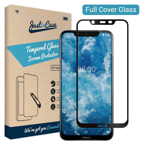 Just in Case Full Cover Tempered Glass Nokia 8.1 Zwart