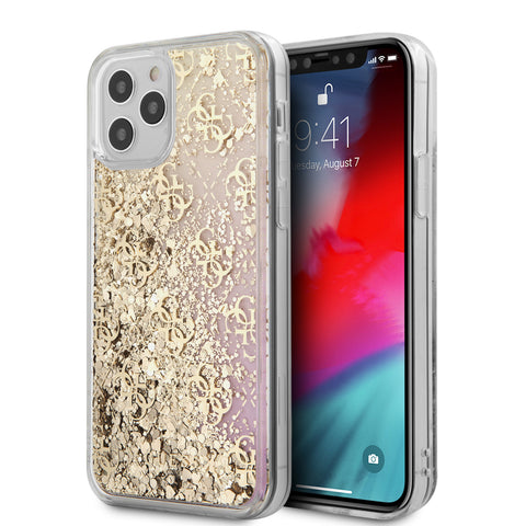 Guess Apple iPhone 12 Pro Max Goud Backcover hoesje - Liquid Glitter