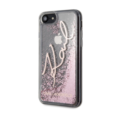 Karl Lagerfeld Apple iPhone SE 2020 Backcover hoesje Rose Gold - glitter Signature