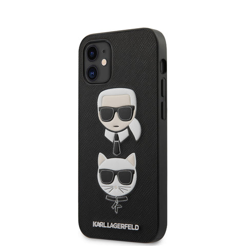 Karl Lagerfeld Apple iPhone 12 Mini Backcover hoesje Zwart - Saffiano