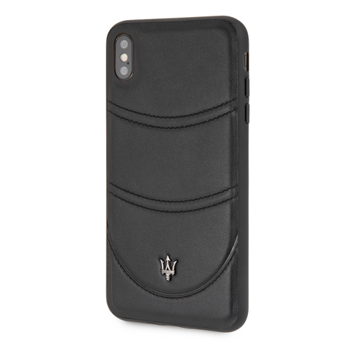 Maserati backcover hoesje Apple iPhone X/Xs Zwart - Echt leer