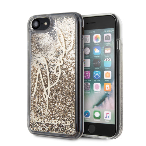 Karl Lagerfeld Apple iPhone SE  2020 Backcover hoesje Goud - glitter Signature