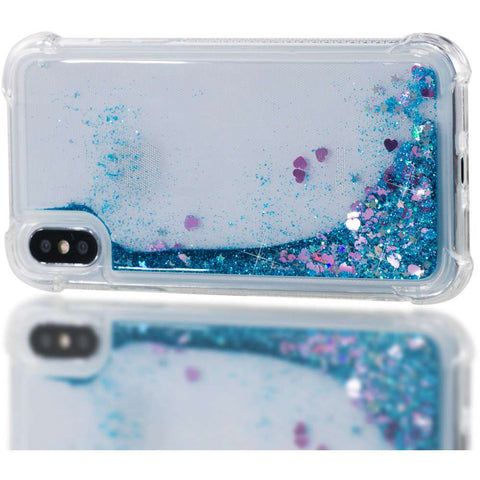 Apple iPhone X/XS Glitter Hoesje Blauw Transparant