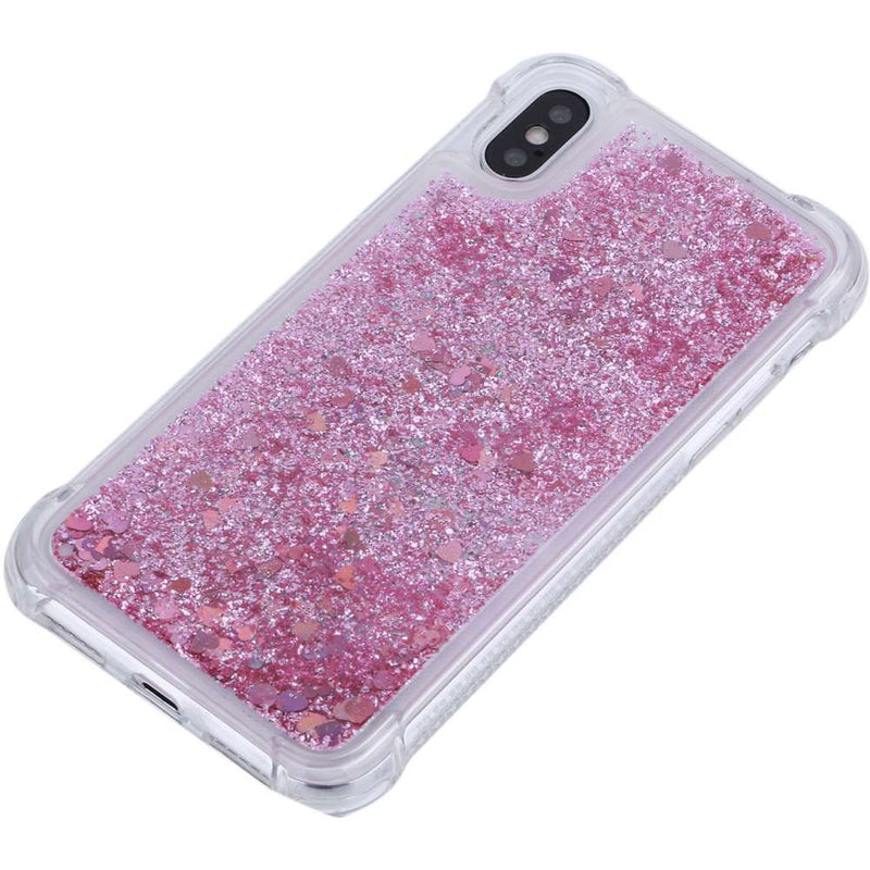 Apple iPhone X/XS Glitter Hoesje Rood Transparant