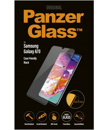 PanzerGlass Samsung Galaxy A70 Case Friendly Screenprotector Zwart