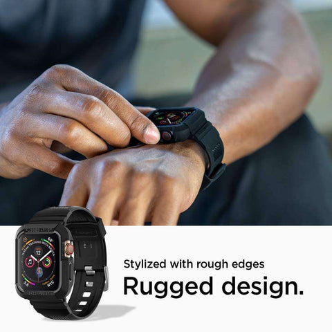 Spigen Rugged Armor Pro Apple Watch 44mm Zwart