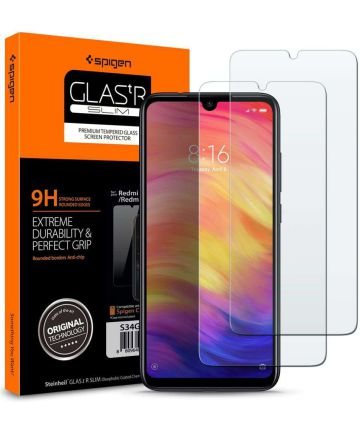 Spigen Xiaomi Redmi Note 7 Tempered Glass Screen Protector 2 Stuks