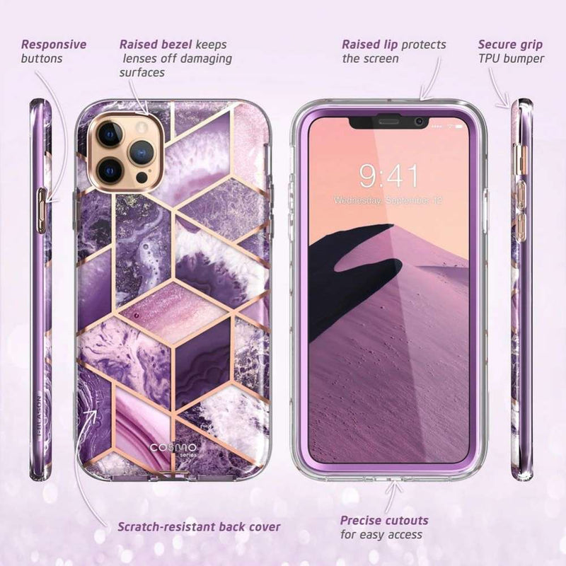 Supcase Cosmo Apple iPhone 12/12 Pro hoesje - Marmer Paars