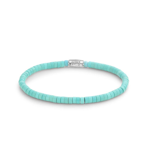 Bracelet REBEL & ROSE - No Balls Please - Slices -Turquoise - 4mm