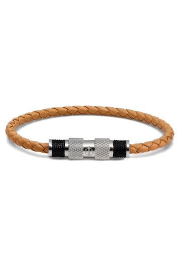 Bracelet Tom Hope Magnetic Leather Light Brown Silver-Tom Hope-TAMARA