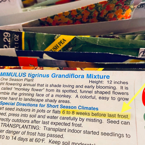 Photo of seed pack sowing instructions with last frost date