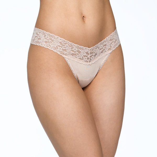SUPIMA Cotton Low Rise Thong with Lace