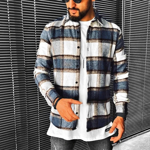 Street Fashion Plaid Textur Langarmhemd