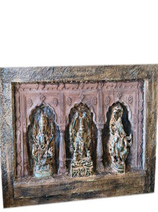Antique Altar Original Rendering 3 Arch Hand made Artistic with Ganesha Shiva Vishnu
