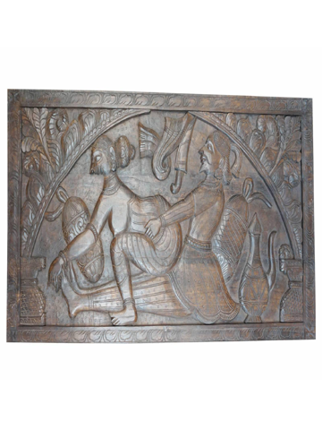 Vintage Wood Kamasutra Khajuraho inspired Wall Hanging Headboard Handcarved Sculpture Shabby Chic Eclectic Decor