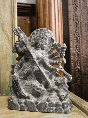 Maa Durga Hindu Goddess Granite Stone Statue, Altar Idol Sculpture Home Decor Puja Temple