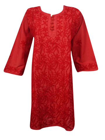 Women's Tunic Dress Cotton Hot Red Hand Embroidered Bohemian Cover Up Ethnic Long Tunic ML