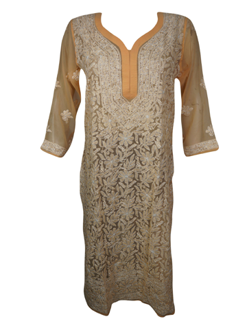 Womens PEACH tunic dress, Georgette Long Tunic with Slits, Embroidered Housedress, Beach Cover Up Boho Indi Fashion  S/M
