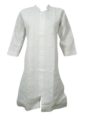Women's Tunic Dress, Cotton White Long Housedress Tunic Floral Hand Embroidery Caftan Casual Summer Dresses ML