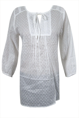 Bohemian White Tunic Blouse, Cotton Floral Embroidered Cover Up Beach Kurti ML