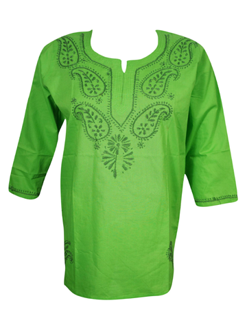 Womens Green Cotton Tunic, Boho Blouse Paisley Embroidered Beach Dress S